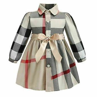 Baby Dress Long Sleeve Party Plaid Cotton Lattice Bow Tutu Dresses-1