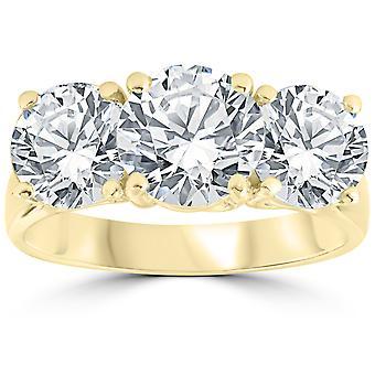 5 ct diamant 3 sten runde Solitaire forlovelsesring 14K gul guld