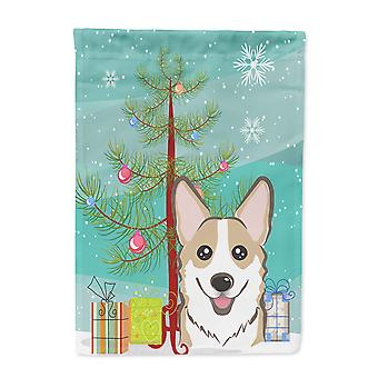 Carolines Treasures  BB1625GF Christmas Tree and Sable Corgi Flag Garden Size