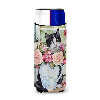 Noir et blanc Rose chat Ultra boisson isolateurs pour canettes slim