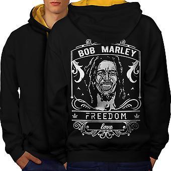 Rakkaus Marley rikkakasvien Rasta Men musta (Gold Hood) kontrasti huppari takaisin | Wellcoda