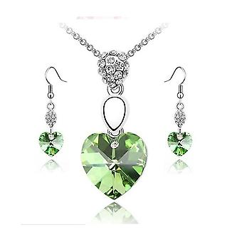 Green Crystal Elements Heart Pendant Necklace And Earrings Set BG1460
