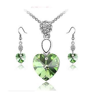 Brincos e cristal verde elementos coração pingente de colar conjunto BG1460