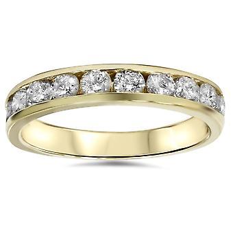 1 / 2ct 14 K gult guld kanal inställd diamant vigselringen