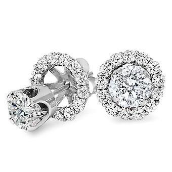 1,55 CT diamant dubbar & örhängen Halo jackor 14k vitt guld