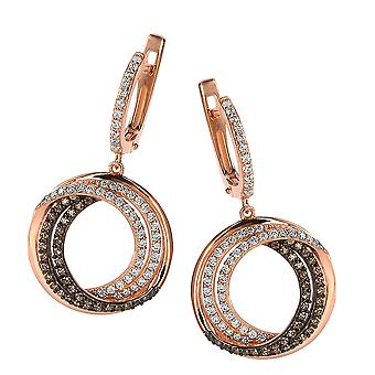 Orphelia Silver 925 Earring Rose Gold Plating White/Brown Zirconium  ZO-7055