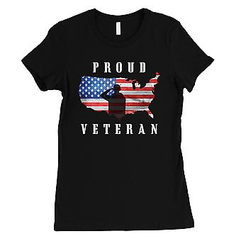 Proud Veteran Wife T-Shirt Gift Womens Black Round Neck Tee Shirt