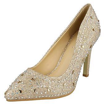 Ladies Anne Michelle Diamante Detail Court Shoes F9947
