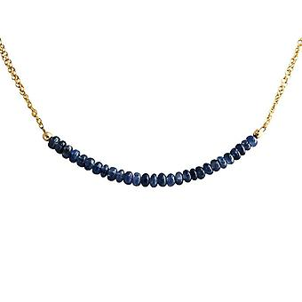 Sapphire Sapphire necklace Sapphire ketting goud vergulde ketting 45 cm