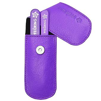 Stylish arrow ring manicure set manicure case nappa leather purple glass nail files and tweezers