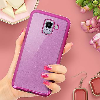 Caso de glitter glam, cubierta protectora para el Samsung Galaxy J6 - rosa