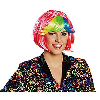 Lilou ladies wig pink blue green yellow Carnival Halloween accessory