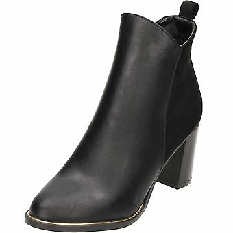 Krush Block Heeled Ankle Boots Black Faux Suede Leather