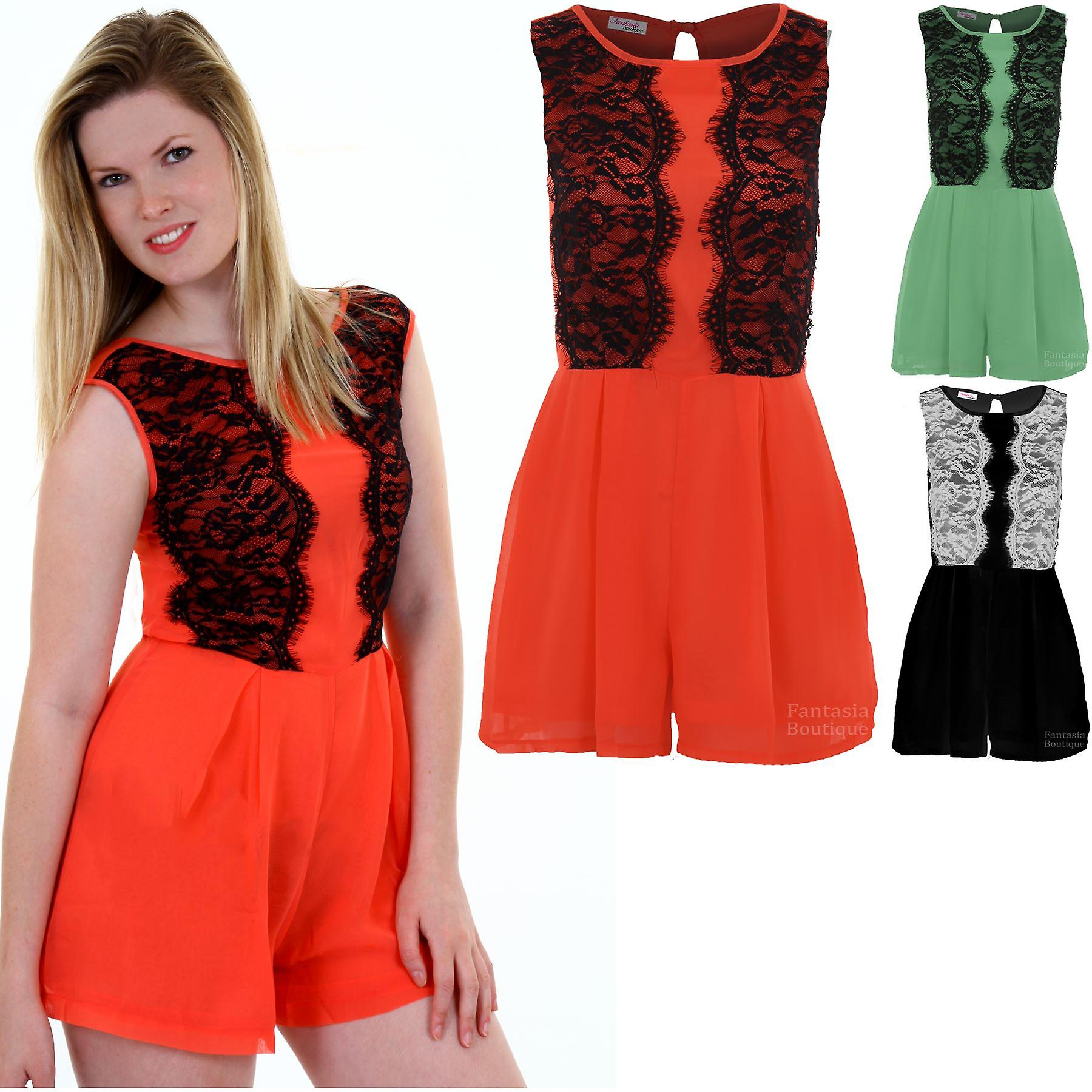 Ladies Sleeveless Floral Lace Contrast Lined Chiffon Women's All In One Playsuit