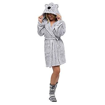 Ladies Supersoft Warm Fleece Animal Hooded Wrap Over Nightwear Bathrobe Dressing Gown