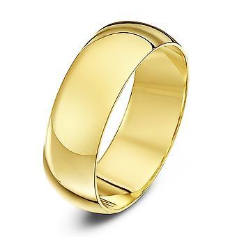 Star Wedding Rings 9ct Yellow Gold Heavy D Shape 7mm Wedding Ring