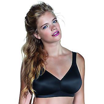 Anita Rosa Faia 5493-001 Women's Twin Black Microfiber Non-Padded Non-Wired Plus Size DD+ Support Soft Bra