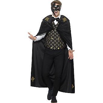 デラックス ファントム衣装、黒・金、マント、チョッキ ・蝶ネクタイ