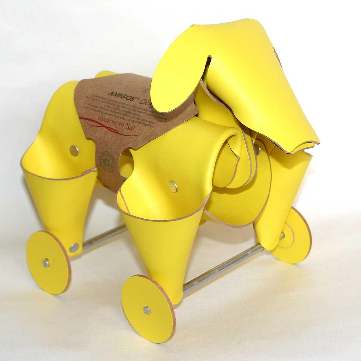 Gelbes Leder cute Dog Schreibtisch Tidy