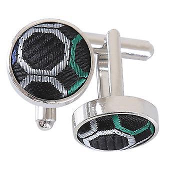 Spinki do mankietów kropki czarny, zielony & srebrny o strukturze plastra miodu