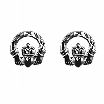 Silver 9mm diamond cut Claddagh stud Earrings