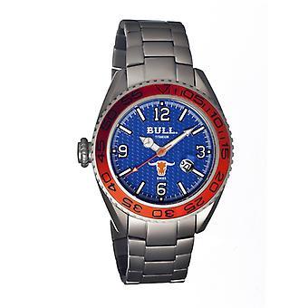 Bull Titanium Hereford Men's Swiss Bracelet Watch - Blue
