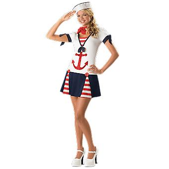 Womens Teen Petite Sailor Costume Uniform Under the Sea Fancy Dress