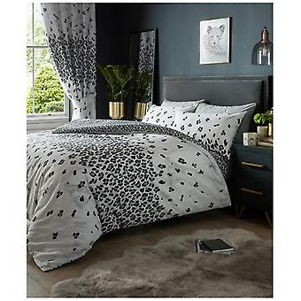 Marmor-Effekt Leopard Print Bettdecke Steppdecke Cover Reversible Bettwäsche-Set Kissenbezug