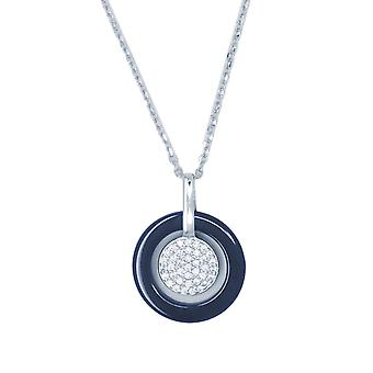 Ah! Jewellery Sterling Silver & Blue Ceramic Pave Set Round Pendant Necklace
