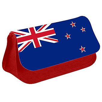 New Zealand Flag Printed Design Pencil Case for Stationary/Cosmetic - 0125 (Red) by i-Tronixs