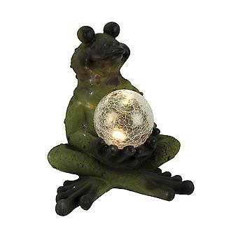 Distressed Green Cross Legged Frog with Solar LED Crackle Glass Ball Statue