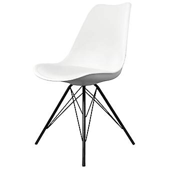 Fusion Living Eiffel Inspiré White Plastic Dining Chair with Black Metal Legs Fusion Living Eiffel Inspiré White Plastic Dining Chair with Black Metal Legs Fusion Living Eiffel Inspiré
