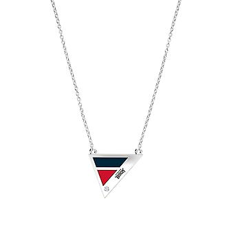 Howard University Engraved Sterling Silver Diamond Geometric Necklace In Blue & Red