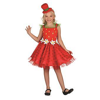 Jordbær kys (kjole + Hovedstykke) (M)
