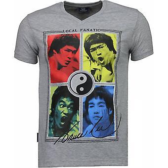 Bruce Lee Ying Yang-T-paita-harmaa
