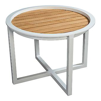 Strand7 | QUEENS LOUNGE TABLE Alum/TEAK bei 60CM |  Weiß | Lounge-Sets