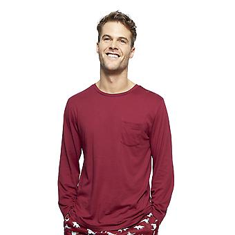 Cyberjammies 6411 Men's Joseph Burgundy Red Cotton Long Sleeve Pyjama Top