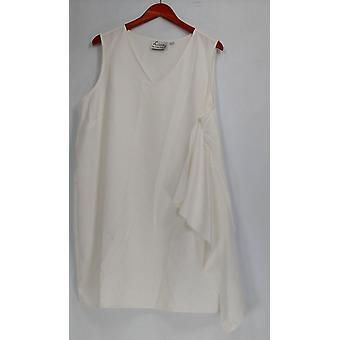 Linea de Louis Dell'Olio Petite Dress 22 Sin mangas V cuello rodilla longitud blanco