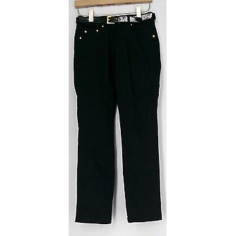 Iman Pants Perfect Fit Belt Included Pull On Jet Black Womens 363-178