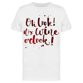 Wine O Clock Graphic  Lettering Tee Men's -Image by Shutterstock