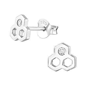 العسل - 925 الجنيه الاسترليني الفضة مكعب الزركونيا الأذن ترصيع - W38416x