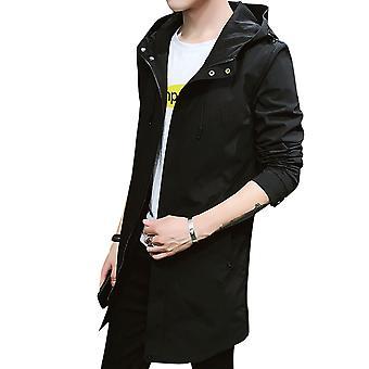 Allthemen Men's Dust Coat Slim Fit Kapuzen dünne Mid-Long Jacke