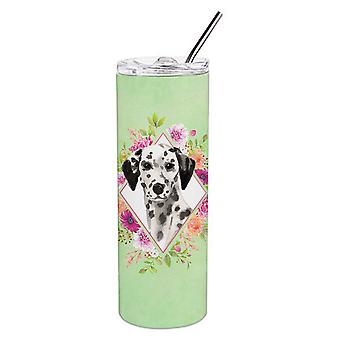 Dalmatian vihreät kukat kaksinkertainen aidattu ruostumaton teräs 20 oz laiha Tumbler