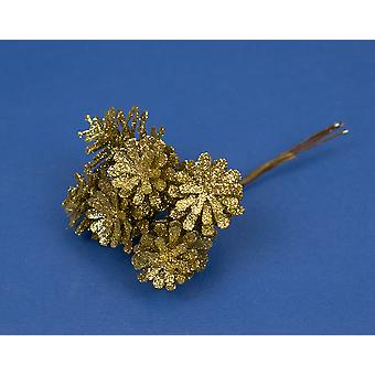 6 Small Deep Gold Glitter Plastic Pine Cones on Wires for Christmas Crafts