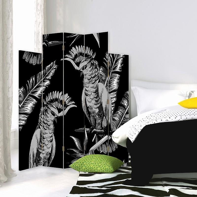 Diviseur de pièce décoratif, 5 panneaux, double-sided, toile, hussards d'oiseau 2