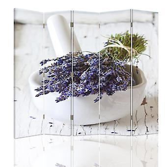 Tilanjakaja, 5 paneelia, kaksipuolinen, kangas, nippu laventeli