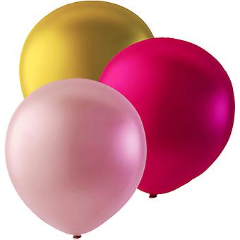 Sassier - Balloons Mix of Pink, Light Pink and Gold in 24-pack