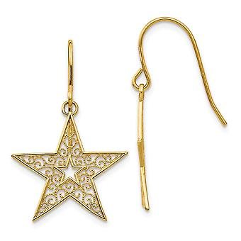 14k Yellow Gold Dangle Textured Polished Filigree Star Shepherd Hook Boucles d'oreilles Bijoux Bijoux pour les femmes