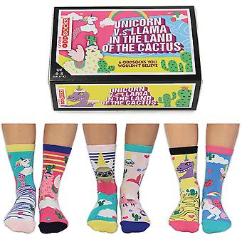 United Oddsocks Women's Unicorn Vs Llama In The Land Of The Cactus Socks