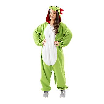 Volwassen loodgieter ' s Pet Yoshi dinosaurus 90s fancy dress kostuum